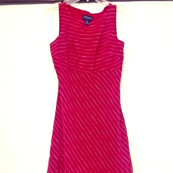 Ann Taylor Dresses & Skirts - ANN TAYLOR Silk Dress Red with Mixed Stripe 8P